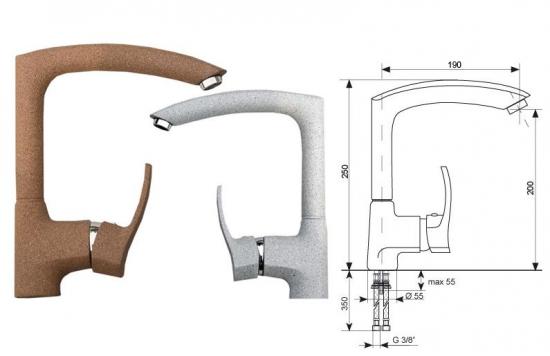 Кухонный смеситель гранитный Ulgran U-005
